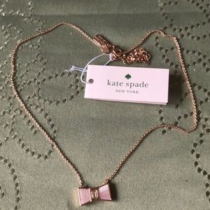 NWT Kate Spade rose gold necklace with bow